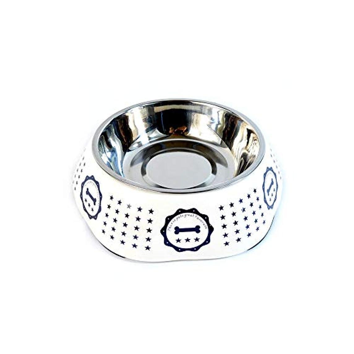 Xian ドッグボウルステンレススチールおよびメラミンデザイン、子犬および猫用フードフィーダ、シングルボウル - ライトブルーパターン Easy to Clean Non-Skid Bowls for Dogs (Size : 6.2*4.4*1.6)