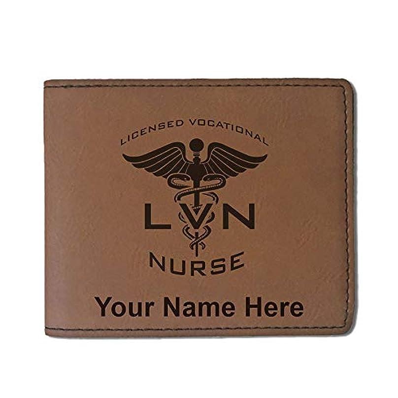 完璧中間絶対のフェイクレザー財布 – LVN Licensed Vocational Nurse – カスタマイズ彫刻Included (ダークブラウン)