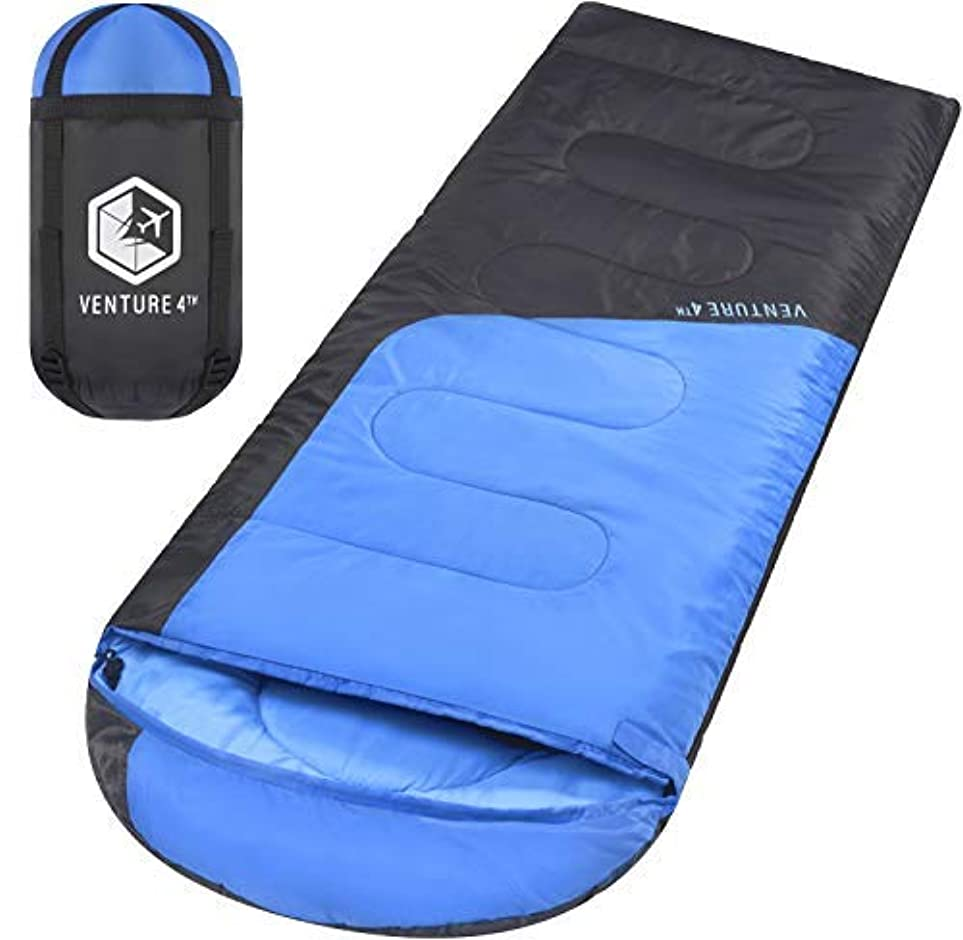 無実発表する圧倒的VENTURE 4TH Sleeping Bags for Adults | Lightweight and Compact Sleeping Bag for Hiking, Camping and Backpacking | Blue/Gray [並行輸入品]