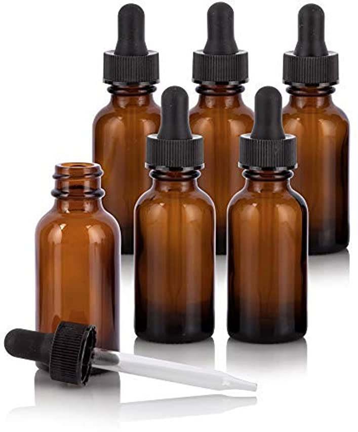 賛辞テーマ村1 oz Amber Glass Boston Round Dropper Bottle (6 Pack) + Funnel and Labels for Essential Oils, Aromatherapy, e-Liquid...