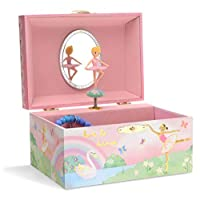 Jewelkeeper Girl's Musical Jewelry Storage Box with Spinning Ballerina, Rainbow and Gold Foil Design, Swan Lake Tune