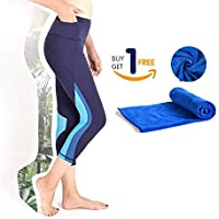 QUEEN FOREVER Yoga Pants for Women High Waist Squat Proof with 2 Pockets Tummy Control Stretch Workout PilatesHiking Activewear Tights Running Leggings