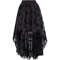 Belle Poque Women's Victoria Gothic Lace Embroidered High-Low Organza Skirt BP466