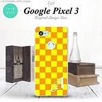 Google Pixel 3 スマホケース カバー スクエア 黄×オレンジ 【対応機種:Google Pixel 3】【アルファベット [E]】