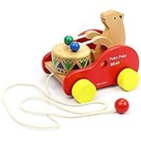 yasushoji 木のおもちゃ 知育玩具 お散歩 木製 幼児 プレゼント お祝い プルトイ キッズ 孫 (クマノック)