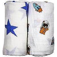 Babio Muslin & Bamboo Cotton Baby Swaddle Blanket Set - 47 inch x 47 inch - Blue/White/Orange by Babio