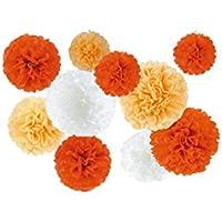 Lumierechat 華やか ペーパー フラワー ポンポン 3サイズ 3色セット組 【Sunrise】 ガーベラ+オレンジ+ホワイト