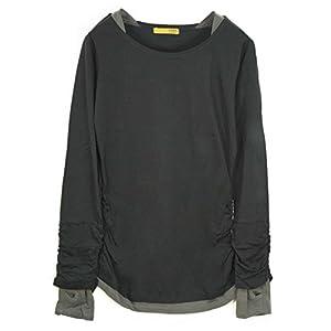 [アンドイット] and it_ フェイクレイヤードくしゅくしゅシャーリングカットソー Black/Gray.ブラック 3L