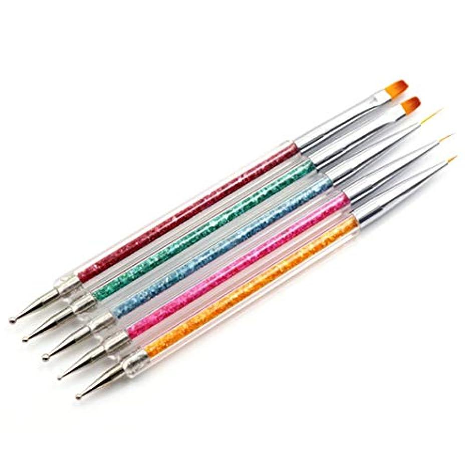 Intercoreyネイルポイントダイヤモンド塗装デュアル使用ペン5セットネイルペン5スティック塗装描画ブラシプロフェッショナルファッション