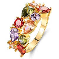 Barzel 18k Gold Plated Gold-Plated-Brass Created Gemstones