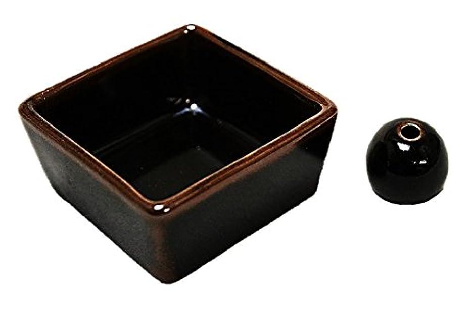 独立スイス人若い和モダン 窯変黒天目釉 お香立て 陶器 角鉢 製造直売品