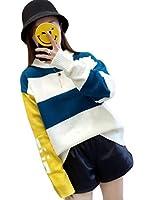 (ニカ) レディース アウター トップス セーター 長袖 レディース ファッション 韓国風 ニット セーター レジャー 春 秋 丸首 おしゃれセーター カジュアルセーターブルー