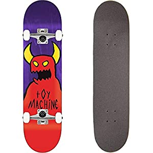 TOY MACHINE(トイマシーン) スケートボード コンプリート (完成品) SKETCHY MONSTER MINI PURPLE パーツ使用 ブランド純正品 スケボー キッズサイズ KIDS C18012pp (7.375 x 29.625)