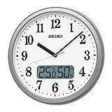 セイコークロック 掛け時計 10:銀色メタリック 02:直径31cm 電波 アナログ 温度 湿度 表示 KX244S