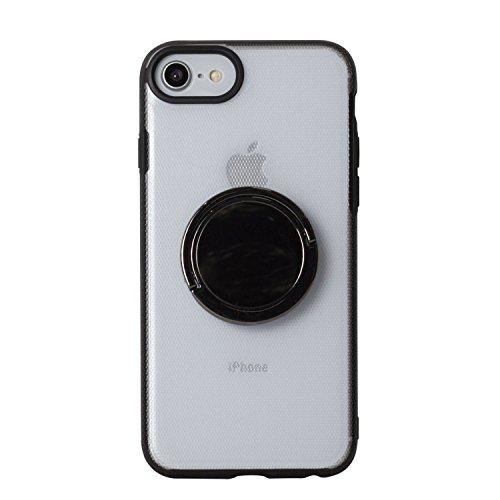 BEGALO iPhone8/7 ハンドスピナー 指スピナー バンカーリング付 ケース 落下防止 360度回転 スタンド ストレス解消 クリア HDSP-IP8-CLR102