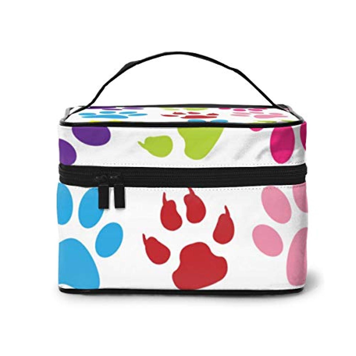 ラグ暗記するハンディメイクポーチ 化粧ポーチ コスメバッグ バニティケース トラベルポーチ 犬 イヌ 足 雑貨 小物入れ 出張用 超軽量 機能的 大容量 収納ボックス