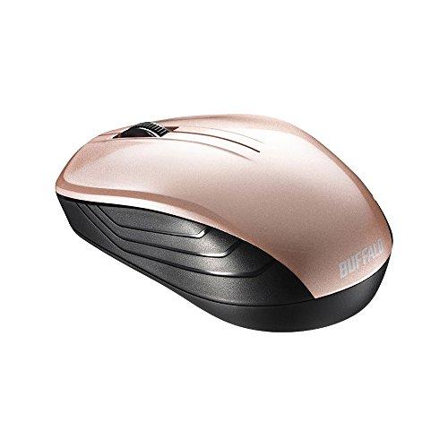 『BUFFALO 無線(2.4GHz)BlueLEDマウス3ボタン ベージュピンク BSMBW105BP』の1枚目の画像