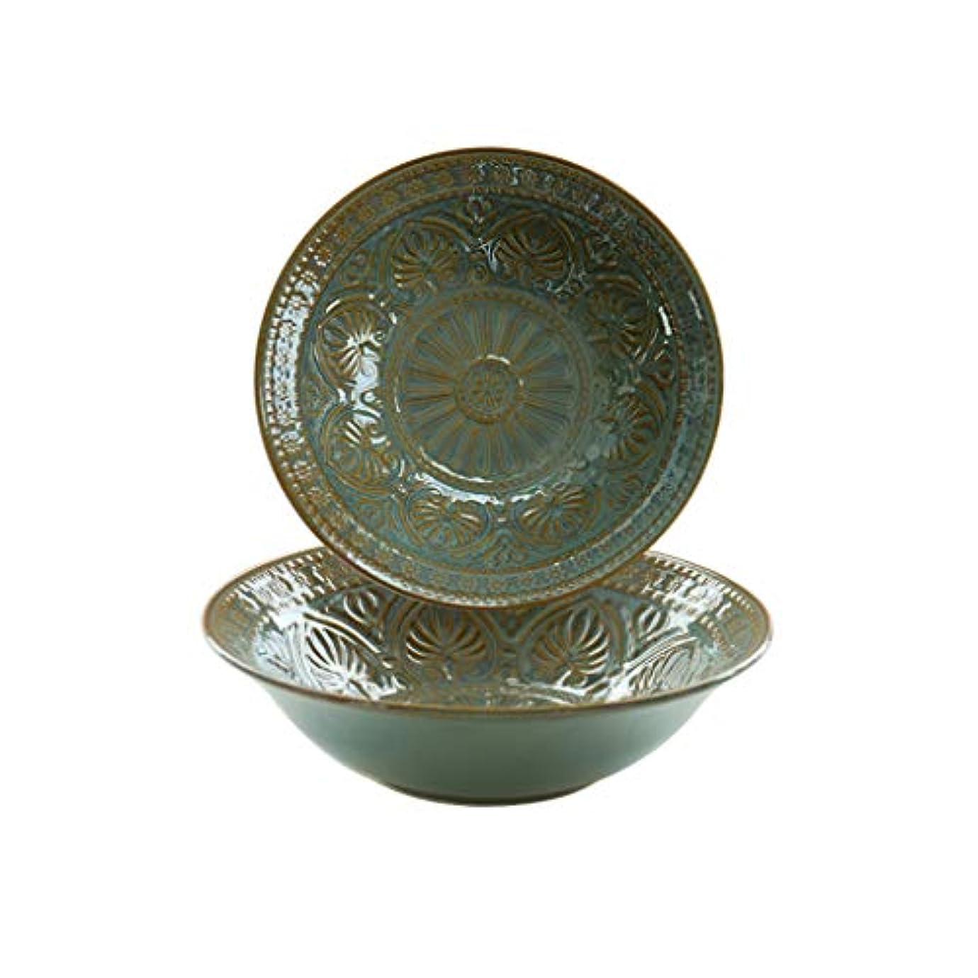 蓄積する大いにさせるファミリーレストランパーティー27 * 7.5cm / 1800ml(2色)に適したヴィンテージ中国彫刻のセラミックヌードルボウルサラダボウル (色 : 緑, サイズ さいず : 4 pack)