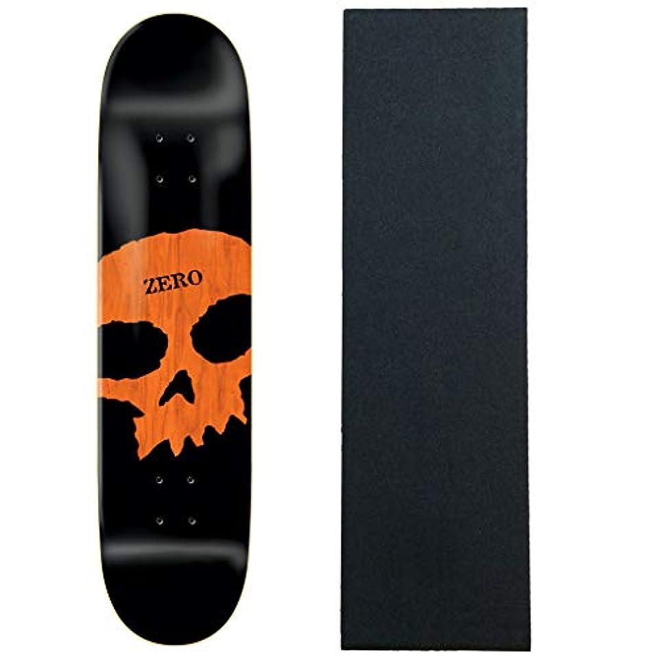 支出口述する既にZero スケートボードデッキ ビッグスカル ブラック/オレンジ 8.5インチ グリップ