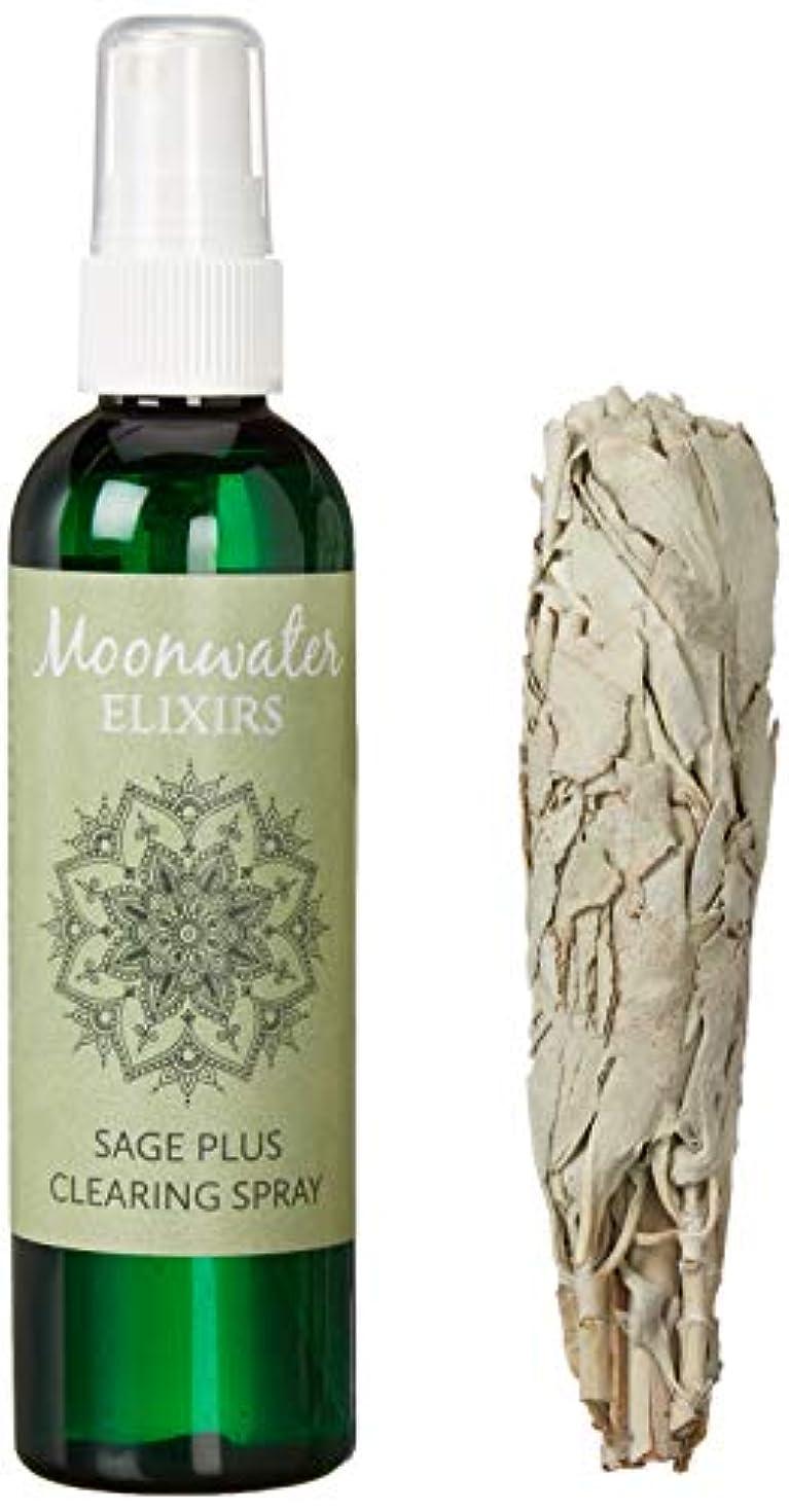 再生苛性容疑者Moonwater Elixirs ホワイトセージスプレーとスマッジスティッククレンジングキット 洗浄と浄化エネルギー用 (4オンス)