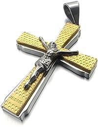 [テメゴ ジュエリー]TEMEGO Jewelry メンズステンレススチールヴィンテージペンダントゴシックイエス?キリストの十字架クロスネックレス、ゴールデンシルバー[インポート]