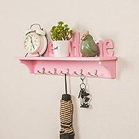 浮遊壁の棚1つの層のホックの設計が付いている木製の壁に取り付けられた本の収納陳列台便利な掛かる項目60×9.5×20 cm JSSFQK (Color : Pink, Size : Double hook)