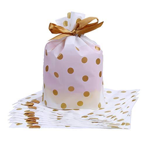 ラッピング袋 リボン マチ付き かわいい プレゼント用 袋 20枚入 ギフト 贈り物 (水玉)