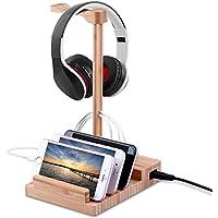 Watch充電ブラケット、Mway竹木製充電スタンドApple Watch用、3.0ハブ充電器クレードルホルダー/ Dock for iPhone、SAMSUNG、Android、すべてのスマートフォン、3 USBポート5 V 3 A 1 M WAYFirstmore2232