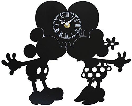 ディズニー 掛け時計 ミッキーマウス & ミニーマウス メタルフレーム ブラック DIC-019-DL-MM1
