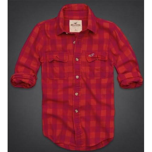 Hollister Co.(ホリスター) シャツ メンズ カジュアルシャツ [レッド×ローズピンク] M(大きめ) [並行輸入品]