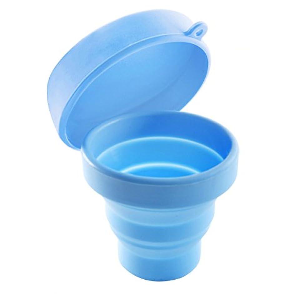 反論者呼吸する取り組むROSENICE 折りたたみ式カップ(蓋付き)ポータブルポップアップカップ(キャンプ用)ピクニックハイキングアウトドアアクティビティ(ブルー)