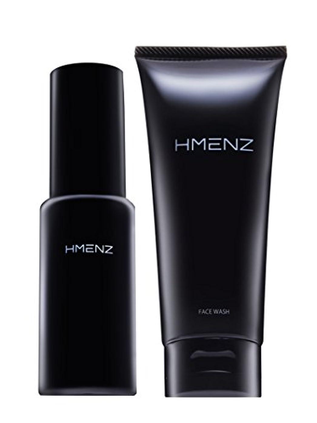 四回ダッシュアルファベット順医薬部外品【 スキンケア セット 】HMENZ メンズ 洗顔 & 美容液 乾燥肌 対策 保湿 (無添加 シミ対策 ニキビ対策 エイジングケア) 洗顔 オールインワン ジェル 100g&50ml
