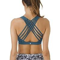 QUEENIEKE Women's Medium Support Strappy Back Energy Sport Bra Cotton Feel