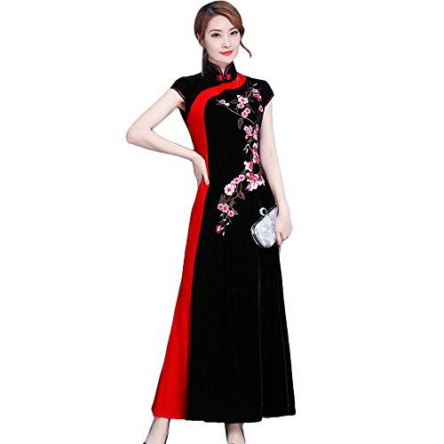 (福丸) チャイナドレス ロング セクシー ベロア 刺繍 チャイナ服 ワンピース 結婚式 ドレス アオザイ 4l 黒 (XL, 赤)