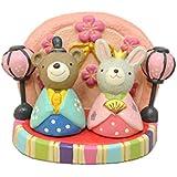 おひなさまノーティー マスコット&ひな台 3点セット ウサギとクマのセット 節句 玄関に 飾り 置物 インテリア ポリレジン 樹脂  可愛い ミニ 小さな置物 窓辺に 雛祭り