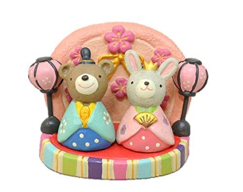 おひなさまノーティー マスコット&ひな台 3点セット ウサギとクマのセット 節句 玄関に 飾り 置物 ...