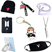 PINGJING 8PCS/Set BTS Bangtan Boys Exquisite Gift Collection Package/Knitted Hat+Key Chain+Finger Ring+Necklace+ Key Ring+ Card Cover +Phone Stand+Mouth Mask