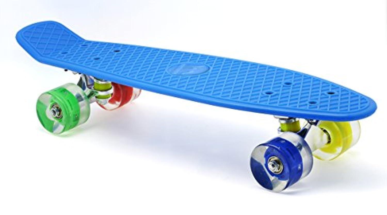 Merkapa 22インチ コンプリート スケートボード カラフル LEDライトアップホイール for キッズ, Boys, Girls, ユース, 初心者 (ブルー)