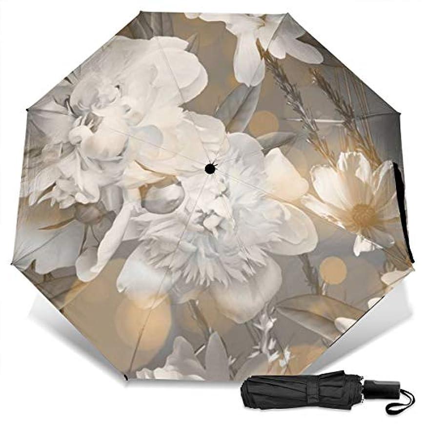 復活する杭懐白いヒナギク日傘 折りたたみ日傘 折り畳み日傘 超軽量 遮光率100% UVカット率99.9% UPF50+ 紫外線対策 遮熱効果 晴雨兼用 携帯便利 耐風撥水 手動 男女兼用
