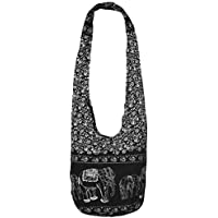 Thai Hippie Bag Unisex-Adult Hippie Elephant Sling Crossbody Bag Purse Thai Top Zip Handmade EB-01, Black, XL