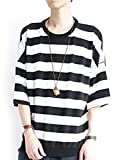 (モノマート) MONO-MART 7分袖 フライス編み ワイド ボーダー カットソー 伸縮性 BIGシルエット サマー Tシャツ ゆる シルエット 夏 MODE 涼しい メンズ ブラック ワンサイズ
