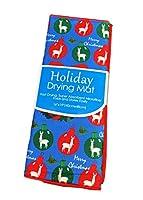 メリークリスマス お祝い用ラマ 赤と緑のオーナメント ホリデーディッシュ乾燥マット 16インチ x 19インチ