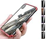 全面保護 格好いい iPhoneXR iPhoneXS MAX ガラスケース アイフォンXS max xr アルミバンパー ストラップホール Glass 9H 強化ガラス カバー ミックス 透明 クリア おしゃれPODITAGI (iPhone XR, ?+赤)
