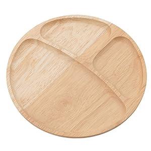 不二貿易 木製 ラウンド ディッシュ (仕切り付) 96196