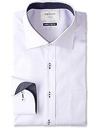 (オリヒカ)ORIHICA ワイドカラーシャツ ラベンダー ストレッチ 織柄ストライプ切替紺デニム FTLW3713