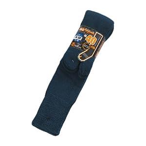 おたふく手袋 防寒靴下 パイルソックス ロング 足袋型 2足組 安全靴にも ネイビー BS-332