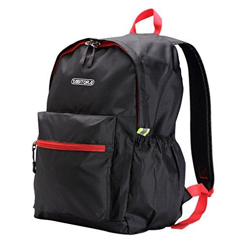 【タビトラ】TABITORA エコバッグ折りたたみ 軽量 防水 旅行 携帯バッグ 大容量 (ブラック)