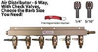 "6Way Air Manifold W / mflバルブ、ターンナット、1/ 4と516"" Barbs by Kegconnection"