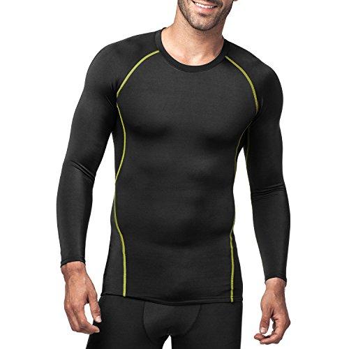 (ラパサ) Lapasa コンプレッションウェア スポーツシャツ パワーストレッチ 長袖 吸汗速乾 3色 (S(USサイズ)=日本サイズM相当, ブラック/グリーン)