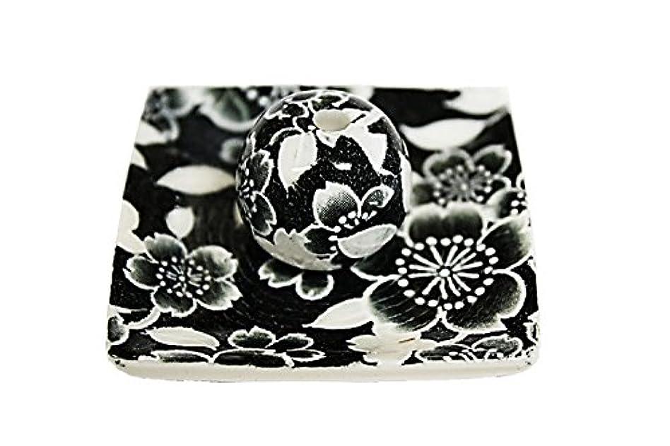 セール腐敗したパッケージ桜友禅 (黒) 小角皿 お香立て 陶器 ACSWEBSHOPオリジナル